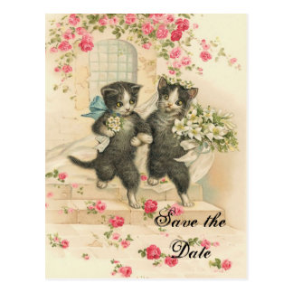 Victorian Kittens Wedding Save the Date Postcard