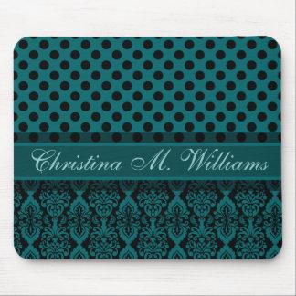 Victorian Lace Black Teal Damask Polka Dot Pattern Mouse Pad