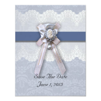 Victorian Lace Blue Cameo Save The Date Cards 11 Cm X 14 Cm Invitation Card