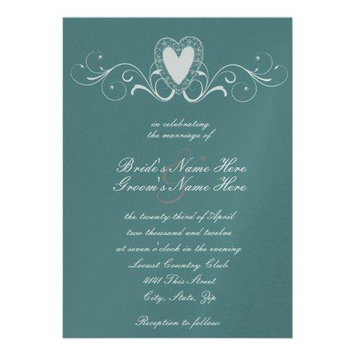 Victorian Lace Heart Wedding Invitation
