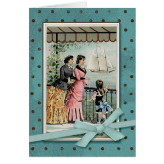 Victorian Ladies & Girl by the Sea Card