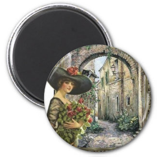 Victorian lady abroad 6 cm round magnet
