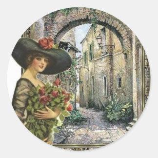 Victorian lady abroad round sticker