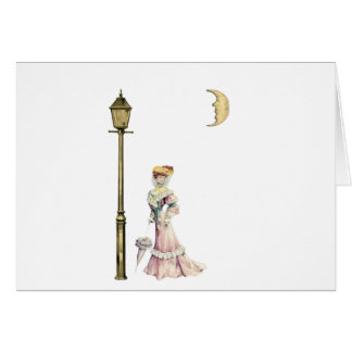 Victorian Lady and Lamp Card