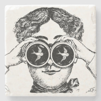 Victorian Lady Bird Watcher Binoculars Coasters