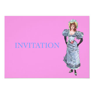 Victorian Lady in Blue Dress - Victorian Birthday Personalized Announcement