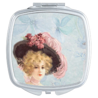 Victorian Lady in Feathered Hat Compact Mirror