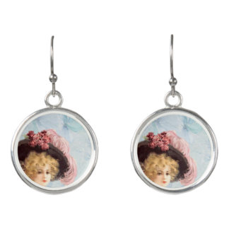 Victorian Lady in Feathered Hat Earrings
