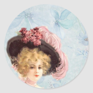 Victorian Lady in Feathered Hat Sticker