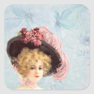 Victorian Lady in Feathered Hat Stickers
