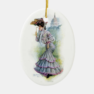 Victorian Lady in Lavender Dress Christmas Ornament