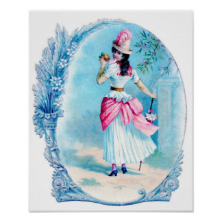 Victorian Lady in Pink Art Print