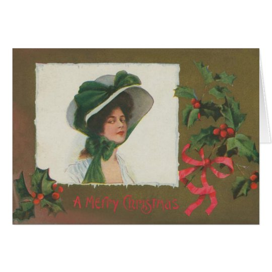 Victorian Lady in White Christmas Card