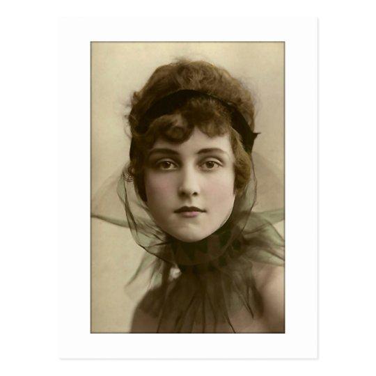 victorian lady net high collar postcard