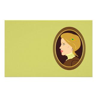 Victorian Lady Portrait Stationery Design