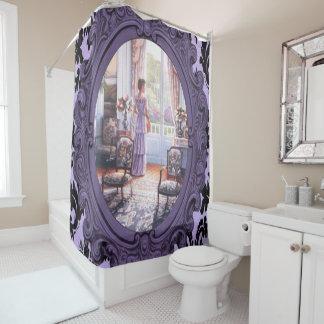 victorian lady purple mirror shower curtain
