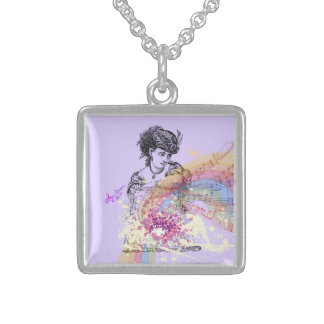 Victorian Lady Purple Silver Square Necklace