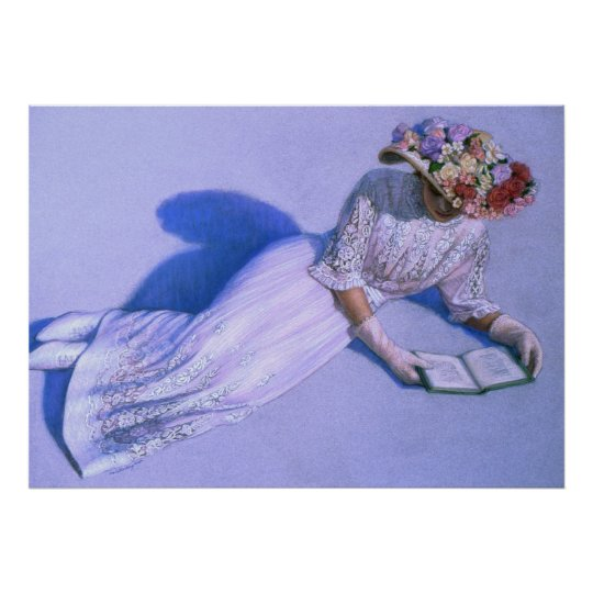 Victorian Lady Reading Elegant Decor Art Poster