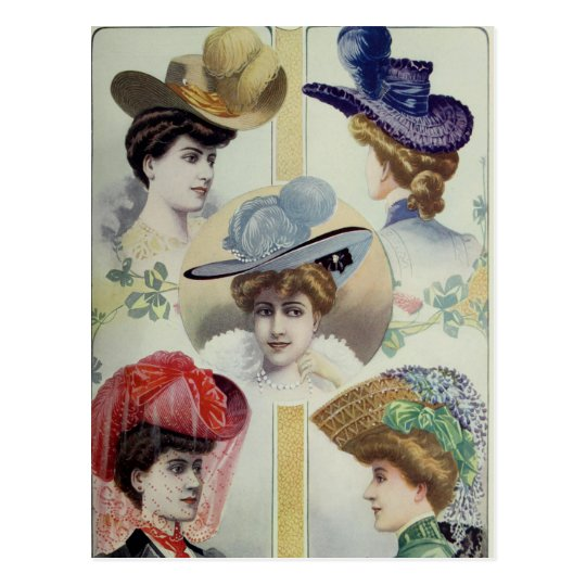 Victorian Lady – Vintage French Fashion –Hats Postcard