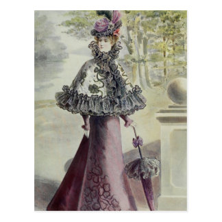 Victorian Lady – Vintage French Fashion-Pink Dress Postcard