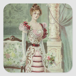 Victorian Lady–Vintage French Fashion –Pink Dress Square Sticker