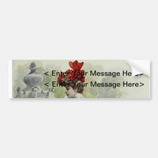 Victorian Lady – Vintage French Fashion – Red Dres Bumper Stickers