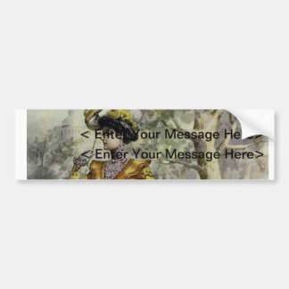 Victorian Lady–Vintage French Fashion–Yellow Dress Bumper Stickers