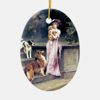 Victorian lady with dog pets christmas ornament
