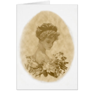 Victorian lady with Flowers Note Card