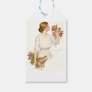 Victorian Lady with Pink Roses & Dog Gift Tags