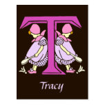 Victorian letter T with 2 cute little girls