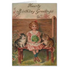Victorian Little Girl and Kittens Birthday Card