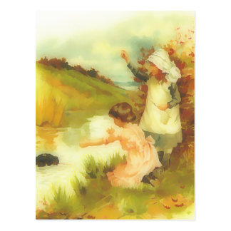 Victorian little girls playing by a stream postcard