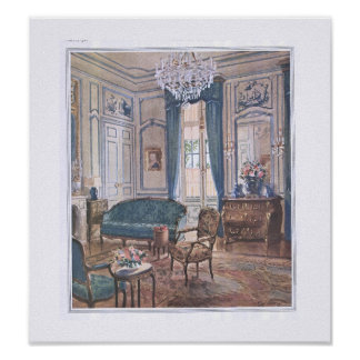 Victorian Living Room in Brown and Blue Poster