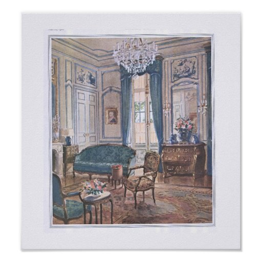 Victorian Living Room in Brown and Blue Print