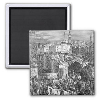 Victorian London -  London Bridge 1872 Square Magnet