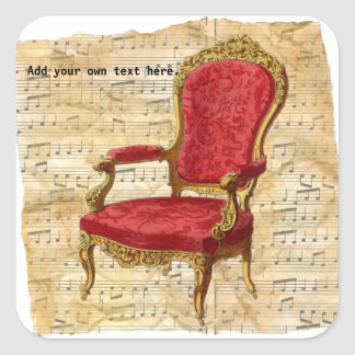 Victorian Lounge Chair Musical Score Background 2 Square Sticker