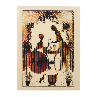 victorian lovers wood canvas