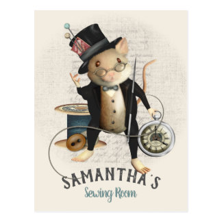 Victorian Mad Hatter Mouse Sewing Design Postcard