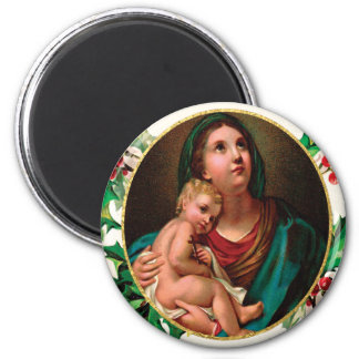 Victorian Madonna and Child Christmas Blessings 6 Cm Round Magnet