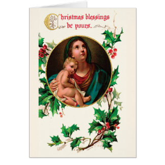 Victorian Madonna and Child Christmas Blessings Greeting Card