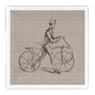 Victorian Man on Bicycle Vintage Steampunk Drawing Acrylic Tray