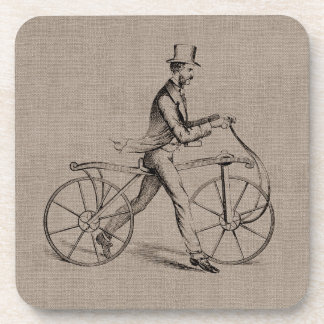 Victorian Man on Bicycle Vintage Steampunk Drawing Coaster