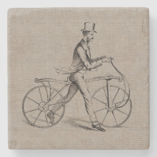 Victorian Man on Bicycle Vintage Steampunk Drawing Stone Beverage Coaster