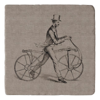 Victorian Man on Bicycle Vintage Steampunk Drawing Trivet