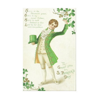 Victorian Man Shamrock Green Top Hat Gallery Wrap Canvas