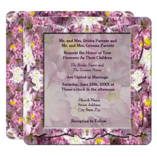 Victorian Mauve Floral Wedding Card