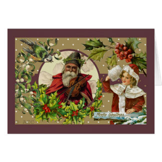 Victorian Merry Christmas Santa Girl Bird Card