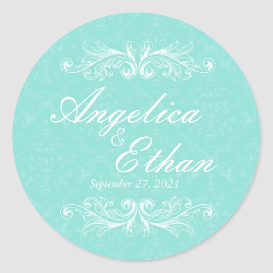 Victorian Mint Wedding Stickers