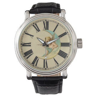 Victorian Moon Angel Watch with Roman Numerals